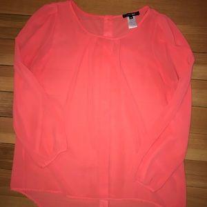 Coral sheer flowing blouse